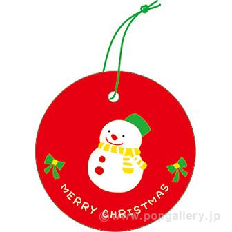 ラッピングタグ(クリスマス・赤)雪だるま