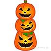 カットアウトパネル 3連ハロウィンかぼちゃ