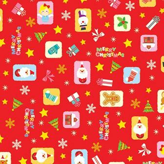 包装紙 カラフルオーナメント(赤)