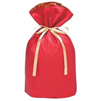 梨地リボン付巾着袋(底マチ付)赤20枚入L