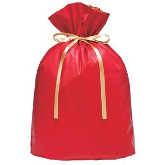 梨地リボン付巾着袋(底マチ付)赤20枚入LL