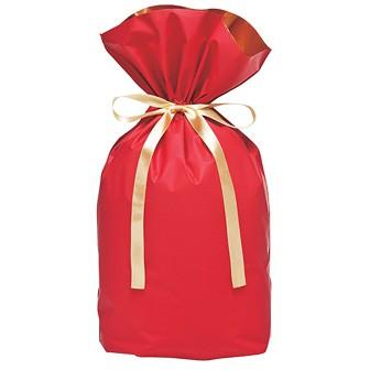 梨地リボン付巾着袋(底マチ付)赤20枚入M