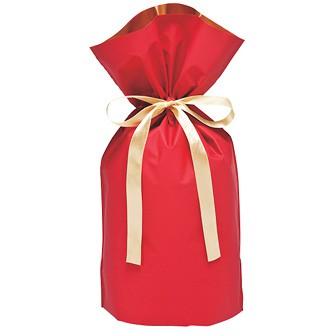 梨地リボン付巾着袋(底マチ付)赤20枚入S