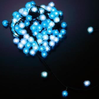 防滴100球LEDケサランパサランライト(ホワイト/ブルー)