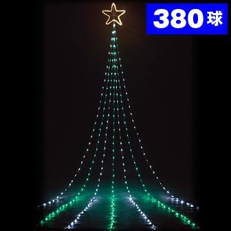 1トップスターナイアガラドレープライト(ホワイト/グリーン)全長5m